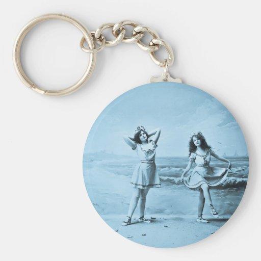 On The Beach vintage 1902 Basic Round Button Keychain