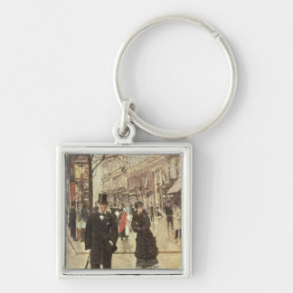 On the Boulevard Silver-Colored Square Keychain