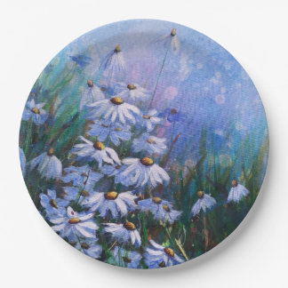 On the bright side, Daisy field painting Paper Plate