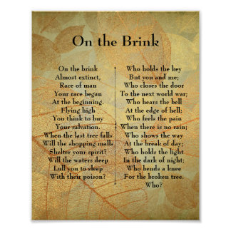 On the Brink Poem Poster