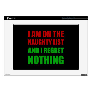 On The Christmas Santa Naughty List Regret Nothing Decal For Laptop