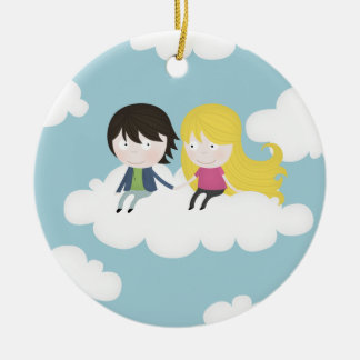On the clouds ceramic ornament