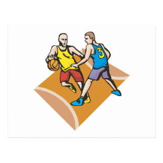 on the court blocking basketball design postcard