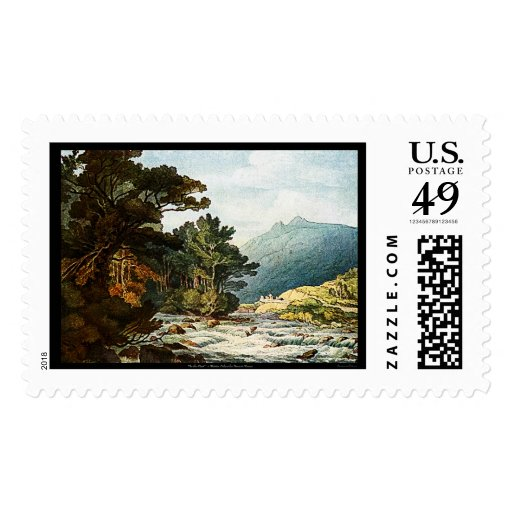 On The Dart Watercolor Painting Art Postage Stamp!
