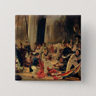 On the deck during a sea battle, 1855 pinback button