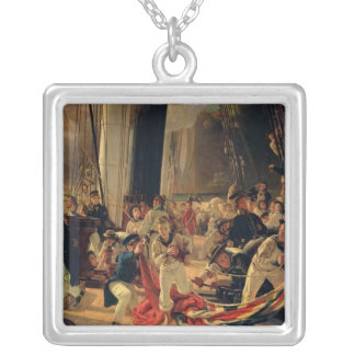 On the deck during a sea battle, 1855 silver plated necklace