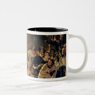 On the deck during a sea battle, 1855 Two-Tone coffee mug