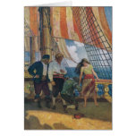On the Deck of a Galleon Beneath a Striped Sail Card