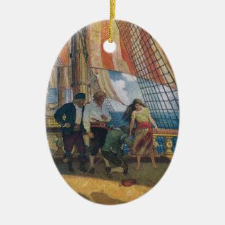 On the Deck of a Galleon Beneath a Striped Sail Ceramic Ornament