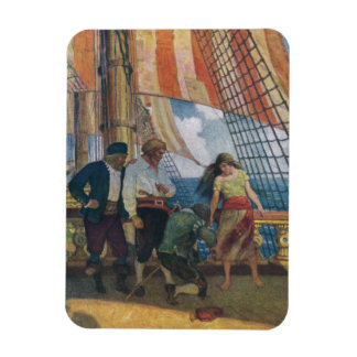 On the Deck of a Galleon Beneath a Striped Sail Magnets