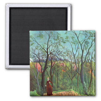 On the edge of a forest fridge magnet