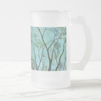 On the edge of a forest frosted glass beer mug