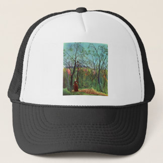On the edge of a forest trucker hat