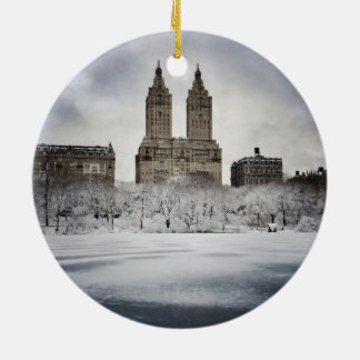 On The Edge Of Frozen In Central Park Ceramic Ornament
