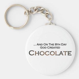 On The Eighth Day God Created Chocolate Basic Round Button Keychain