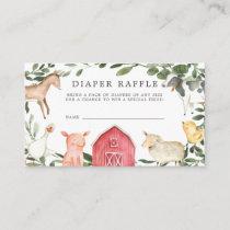 On The Farm Diaper Raffle Baby Shower Card