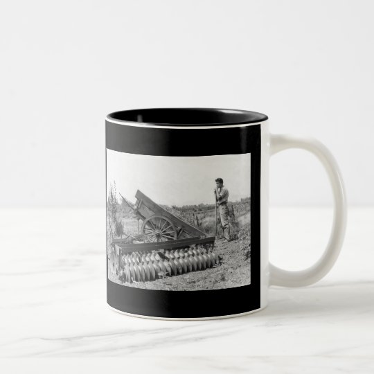 On the farm in 1940's Two-Tone coffee mug