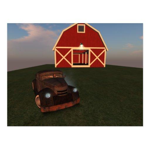 on the farm post card