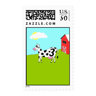 On the Farm - Third Birthday Party Stamp
