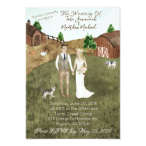 On The Farm Wedding Invitation - With Pet Cat