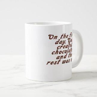 On the first day, God created chocolate... Large Coffee Mug