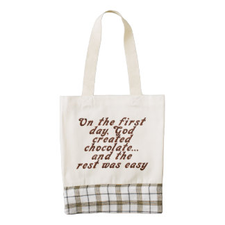 On the first day, God created chocolate... Zazzle HEART Tote Bag