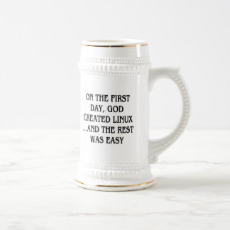 On the first day, God created Linux...and the rest Beer Stein