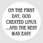 On the first day, God created Linux...and the rest Sticker