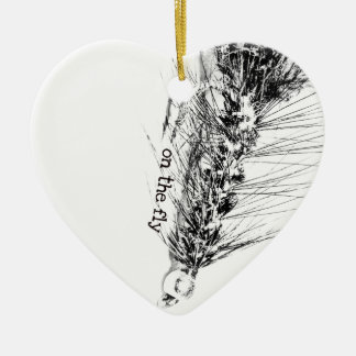 On  the Fly - Fisherman's Fishing Fly Ceramic Ornament