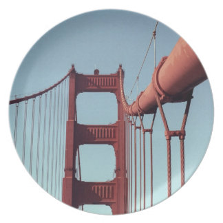 On The Golden Gate Bridge Melamine Plate