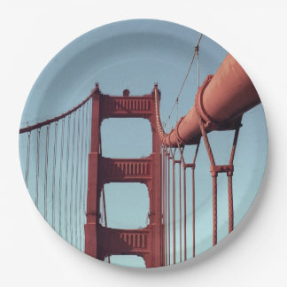 On The Golden Gate Bridge Paper Plate