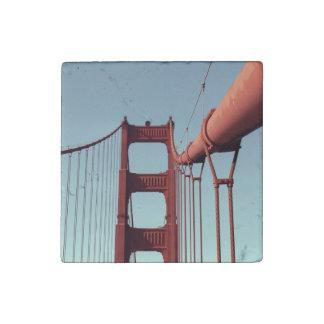 On The Golden Gate Bridge Stone Magnet