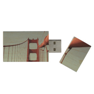 On The Golden Gate Bridge Wood Flash Drive