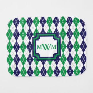 On the Green Argyle Burp Cloth