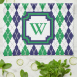 "On the Green Argyle Kitchen Towel<br><div class=""desc"">Argyle goes 8-bit with this classic navy blue,  kelly green,  and white color scheme with a light gray contrast stitch creating a perfect pattern for the golf course. Customize the monogram with the appropriate initial for a personalized touch.</div>"