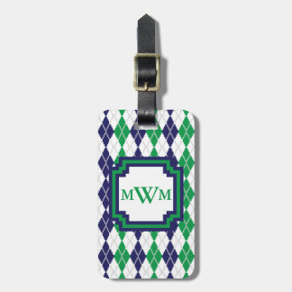 On the Green Argyle Luggage Tag