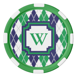 On the Green Argyle Poker Chip