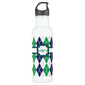 On the Green Argyle Water Bottle