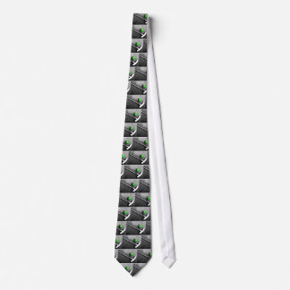 on the green neck tie