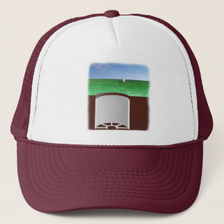 On the green trucker hat