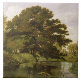 On the Isis, Waterperry, Oxfordshire, 1806 (oil on Ceramic Tile