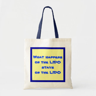 On the Lido Blue on Yellow Tote Bag