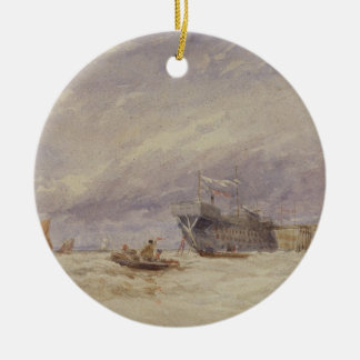 On the Medway, c.1845-50 (w/c with bodycolour over Ceramic Ornament