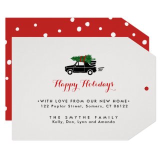 On The Move, Holiday Moving Announcment Tag Card