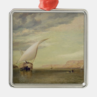 On the Nile (oil on canvas) Square Metal Christmas Ornament