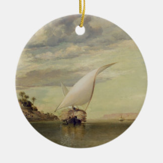 On the Nile (oil on canvas) Double-Sided Ceramic Round Christmas Ornament