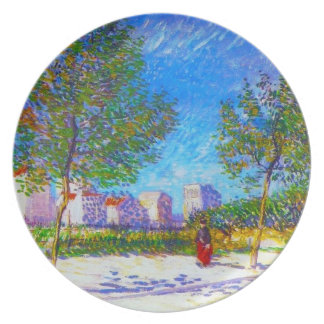 On the Outskirts of Paris by Vincent Van Gogh Melamine Plate