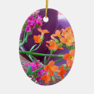 ON THE PATIO Double-Sided OVAL CERAMIC CHRISTMAS ORNAMENT