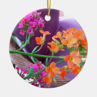 ON THE PATIO Double-Sided CERAMIC ROUND CHRISTMAS ORNAMENT