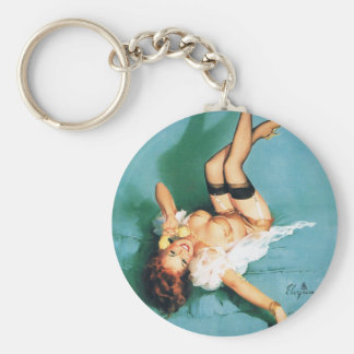 On the Phone - Vintage Pin Up Girl Basic Round Button Keychain